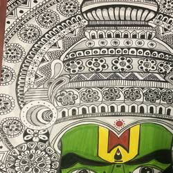 kathakali, 12 x 16 inch, bhumika desai,12x16inch,thick paper,drawings,kerala murals painting,paintings for living room,paintings for office,paintings for hotel,paintings for kitchen,paintings for living room,paintings for office,paintings for hotel,paintings for kitchen,ink color,paper,GAL02457735942
