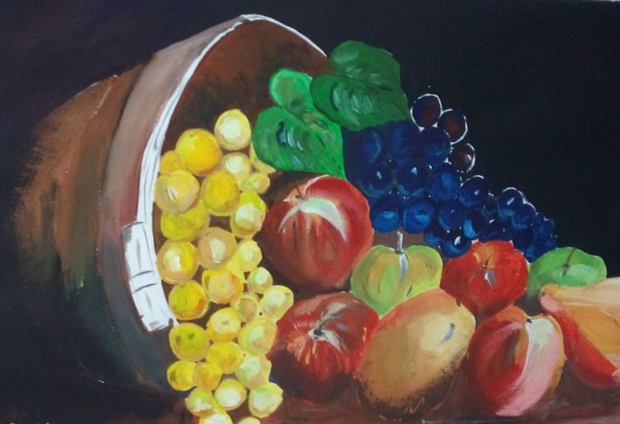 fruits in the basket, 18 x 14 inch, anita kumari,conceptual paintings,paintings for dining room,canvas board,oil paint,18x14inch,GAL08483595