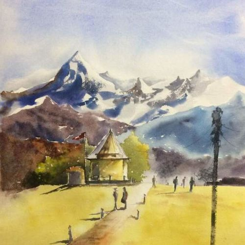 original watercolour painting , mountain art for home decor, 18 x 26 inch, dipankar  biswas,18x26inch,handmade paper,paintings,landscape paintings,nature paintings | scenery paintings,art deco paintings,contemporary paintings,realistic paintings,paintings for dining room,paintings for living room,paintings for bedroom,paintings for office,paintings for hotel,paintings for school,paintings for hospital,watercolor,paper,GAL0293235953