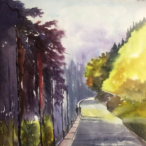original watercolour painting , mountain art for home decor, 18 x 26 inch, dipankar  biswas,18x26inch,handmade paper,paintings,landscape paintings,nature paintings | scenery paintings,art deco paintings,realistic paintings,paintings for dining room,paintings for living room,paintings for bedroom,paintings for office,paintings for hotel,paintings for school,paintings for hospital,watercolor,paper,GAL0293235955