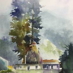 original watercolour painting , mountain art for home decor, 18 x 26 inch, dipankar  biswas,18x26inch,handmade paper,paintings,landscape paintings,nature paintings | scenery paintings,art deco paintings,realism paintings,realistic paintings,paintings for dining room,paintings for living room,paintings for bedroom,paintings for office,paintings for hotel,paintings for school,paintings for hospital,watercolor,paper,GAL0293235959