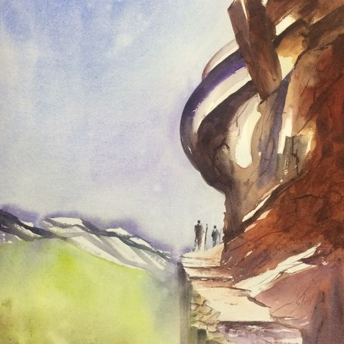 original watercolour painting , mountain art for home decor, 18 x 26 inch, dipankar  biswas,18x26inch,handmade paper,paintings,landscape paintings,nature paintings | scenery paintings,art deco paintings,realism paintings,realistic paintings,paintings for dining room,paintings for living room,paintings for bedroom,paintings for office,paintings for hotel,paintings for school,paintings for hospital,watercolor,paper,GAL0293235961