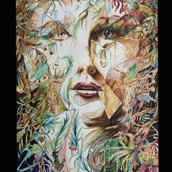 contemporary face, 16 x 22 inch, sarthak  sharma,16x22inch,ivory sheet,drawings,modern drawings,pencil color,GAL02024335966