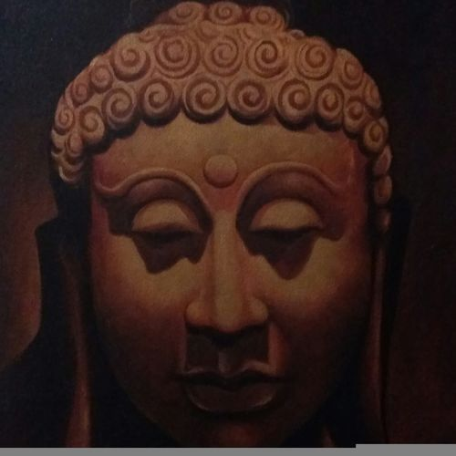 buddha meditating, 18 x 24 inch, veeresh  wani,buddha paintings,religious paintings,paintings for living room,paintings for office,canvas,oil,18x24inch,religious,peace,meditation,meditating,gautam,goutam,buddha,idol,brown,face,GAL013083597