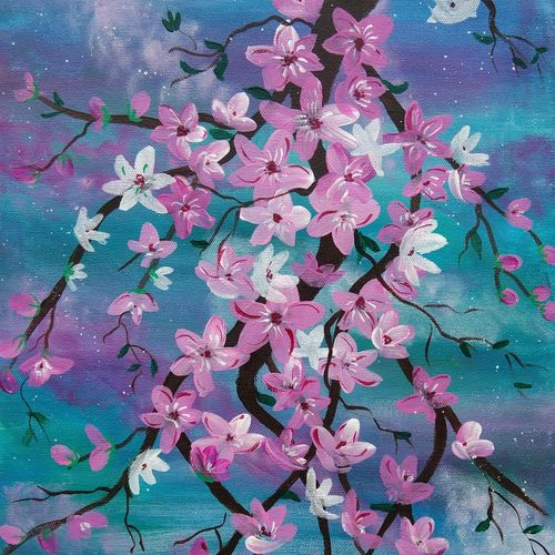 cherry blossom painting , 13 x 21 inch, vidhya narayanasamy,13x21inch,canvas,paintings,flower paintings,nature paintings | scenery paintings,paintings for dining room,paintings for living room,paintings for bedroom,paintings for office,paintings for kids room,paintings for hotel,acrylic color,GAL02450735972