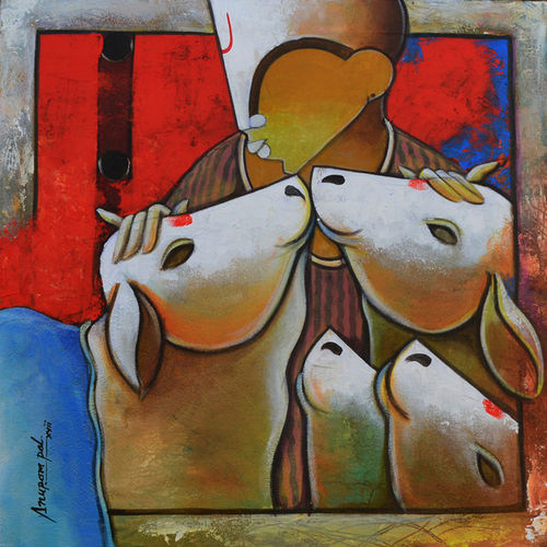 bovine friendship , 48 x 24 inch, anupam  pal,48x24inch,canvas,paintings,abstract paintings,figurative paintings,flower paintings,folk art paintings,landscape paintings,multi piece paintings,realism paintings,surrealism paintings,animal paintings,contemporary paintings,love paintings,horse paintings,mother teresa paintings,kids paintings,madhubani paintings | madhubani art,warli paintings,lord shiva paintings,phad painting,miniature painting.,gond painting.,kerala murals painting,serigraph paintings,paintings for dining room,paintings for living room,paintings for bedroom,paintings for office,paintings for bathroom,paintings for kids room,paintings for hotel,paintings for kitchen,paintings for school,paintings for hospital,acrylic color,GAL08235975