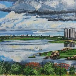 rain clouds, urban jungle and lake , 17 x 12 inch, nilina guha,17x12inch,thick paper,paintings,cityscape paintings,landscape paintings,nature paintings | scenery paintings,realism paintings,paintings for dining room,paintings for living room,paintings for bedroom,paintings for office,paintings for kids room,paintings for hotel,paintings for kitchen,paintings for school,paintings for hospital,acrylic color,paper,GAL02203035977