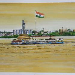 independence day at hussain sagar lake , 16 x 12 inch, nilina guha,16x12inch,thick paper,paintings,cityscape paintings,landscape paintings,nature paintings | scenery paintings,realism paintings,paintings for dining room,paintings for living room,paintings for bedroom,paintings for office,paintings for kids room,paintings for hotel,paintings for school,paintings for hospital,paintings for dining room,paintings for living room,paintings for office,paintings for kids room,paintings for school,paintings for hospital,acrylic color,paper,GAL02203035978