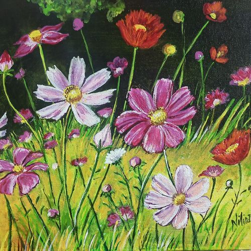 blooming cosmos flower in nature, 12 x 10 inch, nilina guha,12x10inch,canvas board,paintings,flower paintings,landscape paintings,nature paintings | scenery paintings,realism paintings,paintings for dining room,paintings for living room,paintings for bedroom,paintings for office,paintings for kids room,paintings for hotel,paintings for kitchen,paintings for school,paintings for hospital,acrylic color,fabric,GAL02203035979