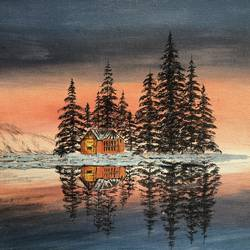 reflection, 18 x 14 inch, rajesh shrivas,18x14inch,canvas,paintings,landscape paintings,paintings for bedroom,paintings for hotel,paintings for school,acrylic color,GAL02460935987