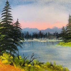 pink sky, 16 x 12 inch, rajesh shrivas,16x12inch,canvas,paintings,landscape paintings,nature paintings   scenery paintings,paintings for living room,paintings for bedroom,paintings for living room,paintings for bedroom,acrylic color,GAL02460935996