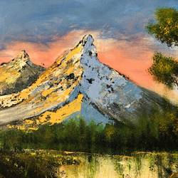 majestic mountain, 18 x 14 inch, rajesh shrivas,18x14inch,canvas,paintings,landscape paintings,paintings for dining room,paintings for bedroom,acrylic color,GAL02460935997