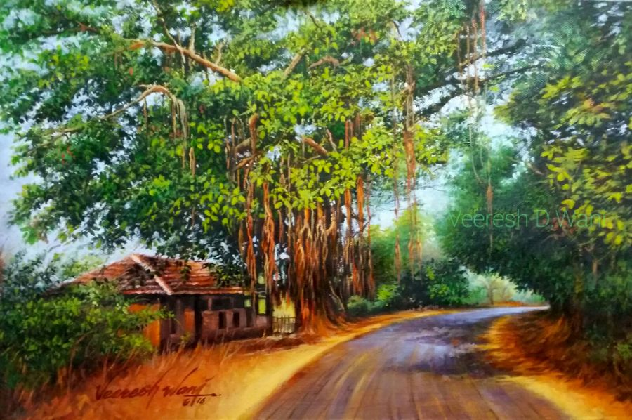 nature-2, 18 x 12 inch, veeresh  wani,landscape paintings,nature paintings,paintings for living room,canvas,oil,18x12inch,GAL013083600Nature,environment,Beauty,scenery,greenery,trees,houses,beautiful