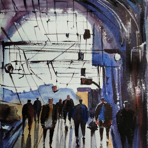rail station, 11 x 15 inch, shankhadeep  mondal,11x15inch,thick paper,paintings,impressionist paintings,paintings for dining room,paintings for living room,paintings for bedroom,paintings for office,paintings for kids room,paintings for hotel,paintings for kitchen,paintings for school,paintings for hospital,watercolor,GAL01403036000