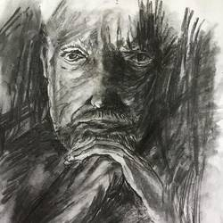 portrait of a old man, 11 x 15 inch, shankhadeep  mondal,11x15inch,thick paper,drawings,portrait drawings,paintings for dining room,paintings for living room,paintings for bedroom,paintings for office,paintings for kids room,paintings for hotel,paintings for kitchen,paintings for school,paintings for hospital,charcoal,GAL01403036006