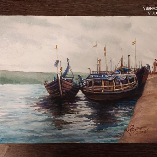 boat, 10 x 12 inch, rashid matwal,10x12inch,renaissance watercolor paper,landscape paintings,watercolor,GAL02463036009