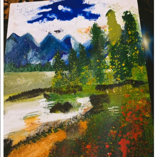 pathika , 20 x 2 inch, dr shweta richa,20x2inch,canvas board,paintings,nature paintings | scenery paintings,paintings for living room,paintings for bedroom,paintings for office,paintings for kids room,paintings for hotel,paintings for school,paintings for hospital,acrylic color,GAL02463636019
