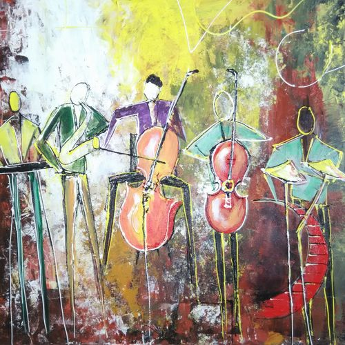 music on fire - original canvas, 30 x 20 inch, vrushali kamthe,abstract paintings,paintings for living room,canvas,acrylic color,30x20inch,GAL013043602