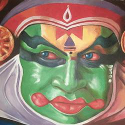 pacha in kathakali, 16 x 12 inch, ratheesh kalapurakkal,16x12inch,thick paper,paintings,conceptual paintings,expressionism paintings,photorealism,realistic paintings,kerala murals painting,paintings for dining room,paintings for living room,paintings for bedroom,paintings for office,paintings for hotel,paintings for school,paintings for dining room,paintings for living room,paintings for bedroom,paintings for office,paintings for hotel,paintings for school,oil color,GAL02448036028