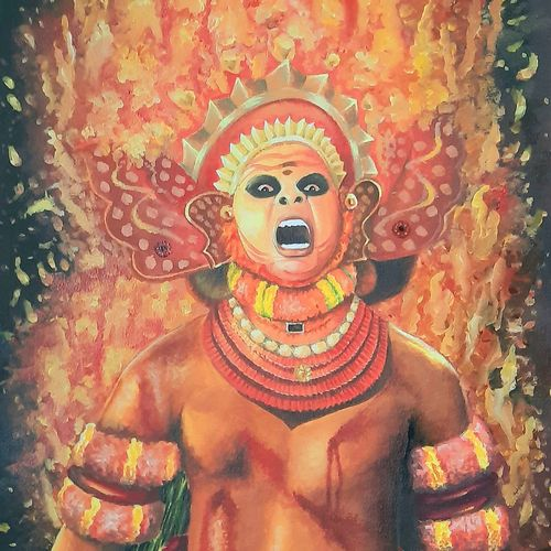 theyyam, 14 x 20 inch, ratheesh kalapurakkal,14x20inch,handmade paper,paintings,folk art paintings,conceptual paintings,religious paintings,still life paintings,expressionism paintings,paintings for dining room,paintings for living room,paintings for hotel,paintings for school,oil color,GAL02448036030