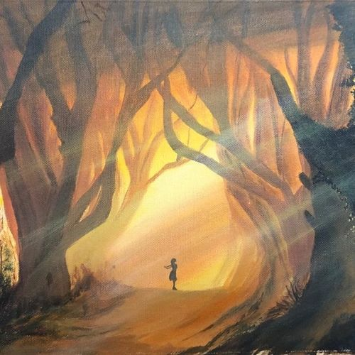 illuminated forest, 18 x 12 inch, akansha singh,18x12inch,canvas,paintings,landscape paintings,nature paintings | scenery paintings,art deco paintings,illustration paintings,photorealism,street art,realistic paintings,paintings for dining room,paintings for living room,paintings for bedroom,paintings for office,paintings for hotel,paintings for hospital,acrylic color,GAL02164036032