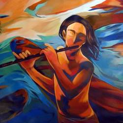 waiting for you 03, 32 x 32 inch, krantishil kirve,32x32inch,canvas,paintings,figurative paintings,folk art paintings,modern art paintings,conceptual paintings,expressionism paintings,impressionist paintings,paintings for dining room,paintings for living room,paintings for bedroom,paintings for office,paintings for bathroom,paintings for kids room,paintings for hotel,paintings for kitchen,paintings for school,paintings for hospital,acrylic color,GAL01952336035