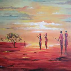 cultural - original canvas, 30 x 24 inch, vrushali kamthe,landscape paintings,paintings for living room,canvas,acrylic color,30x24inch,GAL013043604