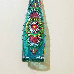 bottle wind chime, 4 x 9 inch, manashree navghare,4x9inch,acrylic glass,handicrafts,wall hangings,enamel color,watercolor,glass,GAL02458236054