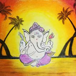 ganeshji, 8 x 12 inch, pavan pai,8x12inch,drawing paper,paintings,religious paintings,ganesha paintings | lord ganesh paintings,radha krishna paintings,lord shiva paintings,oil color,graphite pencil,GAL02465336083