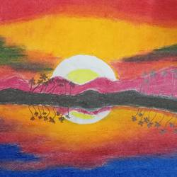 sunset 01, 12 x 8 inch, pavan pai,12x8inch,drawing paper,paintings,abstract paintings,landscape paintings,still life paintings,realistic paintings,oil color,graphite pencil,GAL02465336085