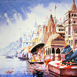 benaras ghat 9, 30 x 24 inch, subir kumar,religious paintings,paintings for living room,canvas,acrylic color,30x24inch,GAL013063609