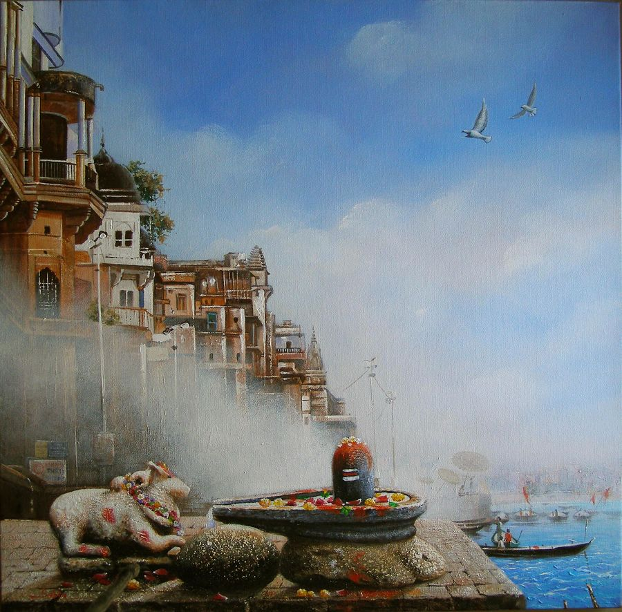 benaras ghat 5, 24 x 24 inch, subir kumar,religious paintings,paintings for living room,canvas,acrylic color,24x24inch,GAL013063610