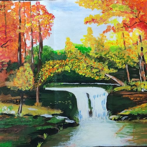 waterfall, 21 x 13 inch, ajay kanawade,21x13inch,canvas,paintings,landscape paintings,water fountain paintings,paintings for dining room,paintings for living room,paintings for bedroom,paintings for office,paintings for kids room,paintings for hotel,paintings for school,paintings for hospital,acrylic color,GAL02468936100