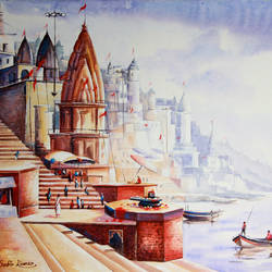 benaras ghat 6, 36 x 24 inch, subir kumar,religious paintings,paintings for living room,canvas,acrylic color,36x24inch,GAL013063611