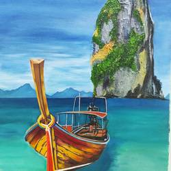phiphi island, 18 x 24 inch, komal  bharti ,18x24inch,canvas,landscape paintings,oil color,GAL02470036119