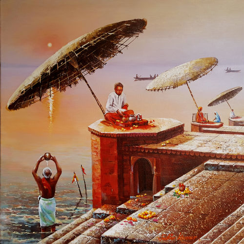 benaras ghat 7, 24 x 24 inch, subir kumar,religious paintings,paintings for living room,canvas,acrylic color,24x24inch,GAL013063612