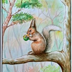 squirrel on the branch , 12 x 16 inch, ratheesh kalapurakkal,12x16inch,thick paper,wildlife paintings,paintings for dining room,paintings for living room,paintings for bedroom,paintings for office,paintings for kids room,paintings for hotel,paintings for school,paintings for dining room,paintings for living room,paintings for bedroom,paintings for office,paintings for kids room,paintings for hotel,paintings for school,watercolor,GAL02448036124