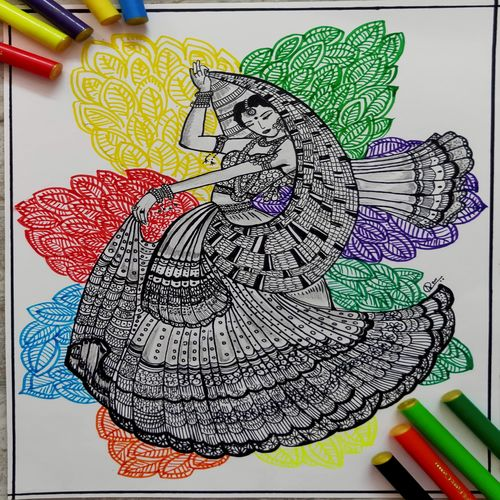 mandala art, zentangle tribal women, 7 x 8 inch, anushka singh,7x8inch,cartridge paper,drawings,art deco drawings,conceptual drawings,fine art drawings,modern drawings,paintings for dining room,paintings for living room,paintings for bedroom,paintings for kids room,ink color,ball point pen,GAL02471336127