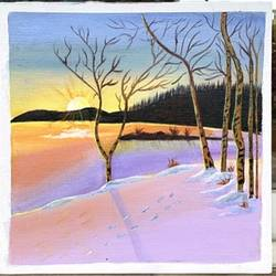 winter landscape , 10 x 10 inch, jyotsana  rao,10x10inch,canvas,paintings,landscape paintings,acrylic color,GAL02446236128