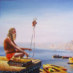 benaras ghat 10, 50 x 30 inch, subir kumar,religious paintings,paintings for living room,canvas,acrylic color,50x30inch,GAL013063613