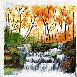 waterfall landscape , 10 x 10 inch, jyotsana  rao,10x10inch,canvas,paintings,landscape paintings,acrylic color,GAL02446236130