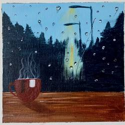 rainy day scene , 8 x 8 inch, jyotsana  rao,8x8inch,canvas board,paintings,nature paintings | scenery paintings,acrylic color,GAL02446236135