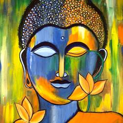 buddha painting , 17 x 23 inch, jyotsana  rao,17x23inch,canvas,paintings,buddha paintings,acrylic color,GAL02446236136