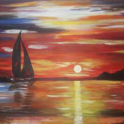 golden sunset, 30 x 24 inch, ajay kanawade,30x24inch,canvas,paintings,landscape paintings,nature paintings | scenery paintings,paintings for dining room,paintings for living room,paintings for bedroom,paintings for office,paintings for hotel,paintings for school,paintings for hospital,acrylic color,GAL02468936138