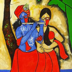 krishna the rising sun-1, 12 x 30 inch, chetan katigar,figurative paintings,paintings for dining room,religious paintings,radha krishna paintings,canvas,mixed media,12x30inch,krishna,radha,radhakrishna,love,lord,religious,music,,GAL02663614,krishna,Lord krishna,krushna,radha krushna,flute,peacock feather,melody,peace,religious,god,love,romance