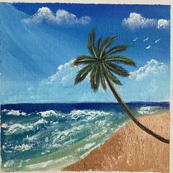 beach painting , 8 x 8 inch, jyotsana  rao,8x8inch,canvas board,paintings,nature paintings | scenery paintings,acrylic color,GAL02446236140