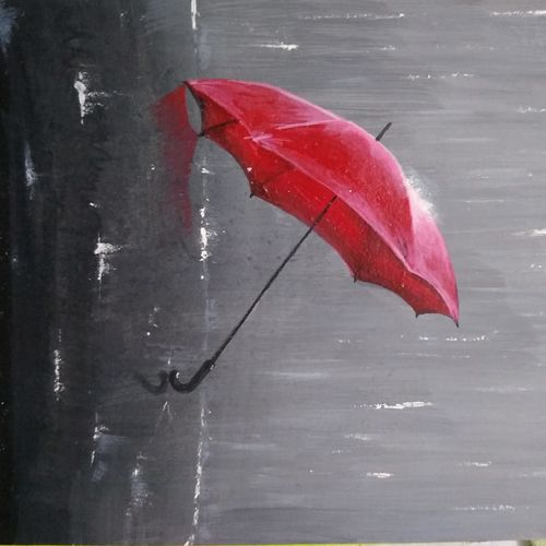 the red umbrella, 6 x 8 inch, ashwini samy,6x8inch,handmade paper,modern art paintings,still life paintings,photorealism,paintings for dining room,paintings for living room,paintings for bedroom,paintings for dining room,paintings for living room,paintings for bedroom,acrylic color,pastel color,GAL02473036144