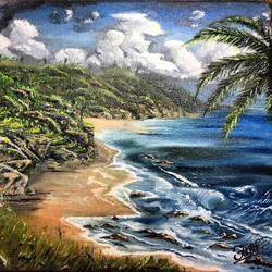 beach side, 12 x 10 inch, jeff bourne,12x10inch,canvas,paintings,landscape paintings,nature paintings | scenery paintings,paintings for dining room,paintings for living room,paintings for bedroom,paintings for office,paintings for hotel,oil color,GAL02367036145