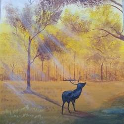sun piercing forest, 3 x 5 inch, ashwini samy,3x5inch,thick paper,paintings,wildlife paintings,nature paintings | scenery paintings,paintings for living room,paintings for office,paintings for kids room,poster color,GAL02473036146