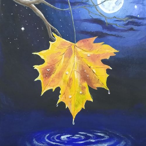 the last leaf, 5 x 7 inch, ashwini samy,5x7inch,thick paper,paintings,nature paintings   scenery paintings,paintings for dining room,paintings for living room,paintings for bedroom,paintings for office,acrylic color,poster color,GAL02473036147